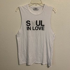 SoulCycle Soul in Love White Tank Top Raw Hems